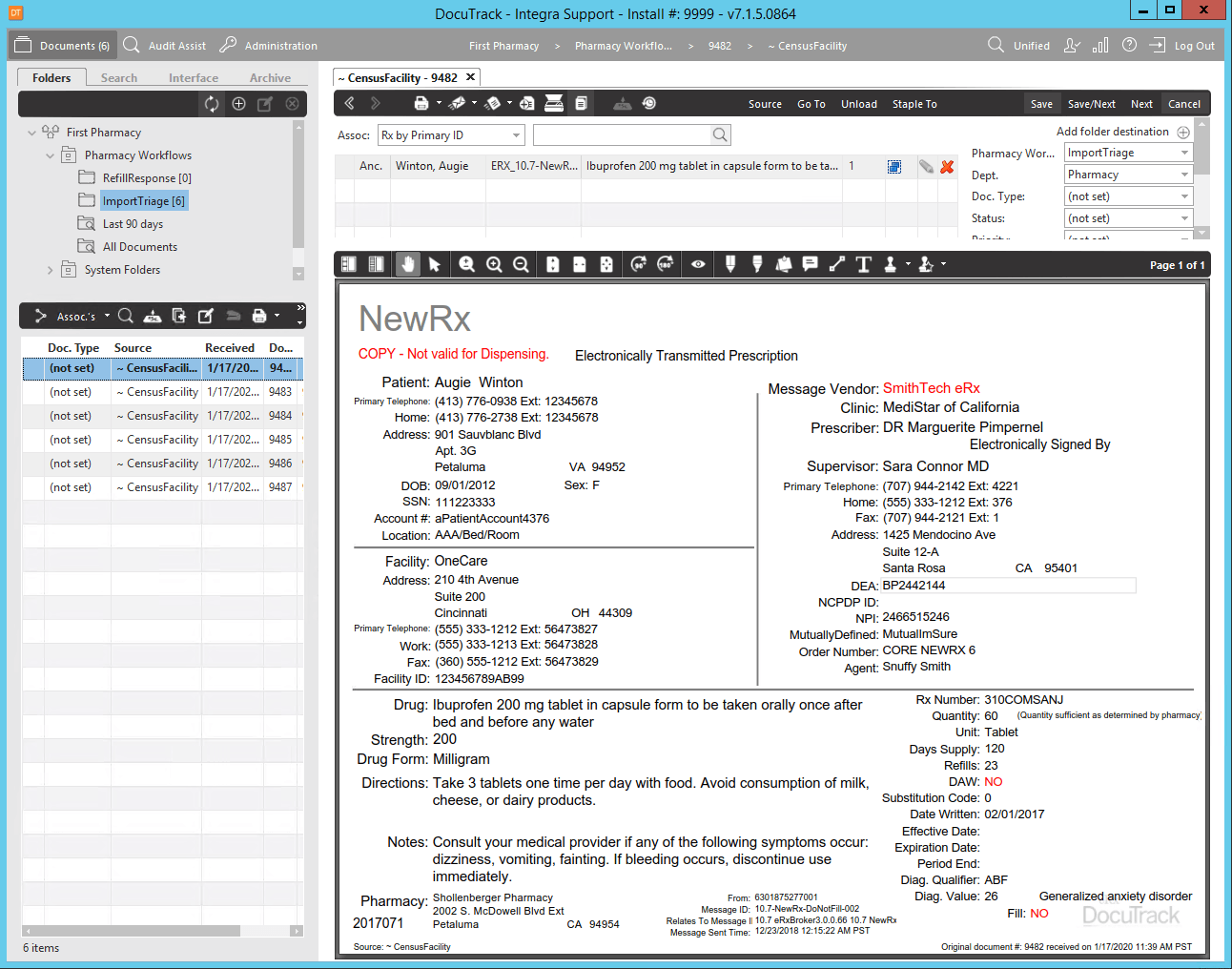 DocuTrack eRx Screen Shot